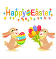 happy easter greeting card design milk bunnies vector image