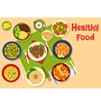 Healthy dinner dishes icon for food design vector image vector image