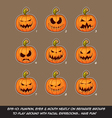 Jack O Lantern Cartoon 9 Scary Expressions Set vector image vector image