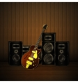 jazz guitar and speakers on a wooden background vector image vector image