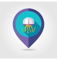 Jellyfish flat mapping pin icon with long shadow vector image vector image
