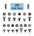 led light gu10 bulbs silhouette icon set vector image vector image