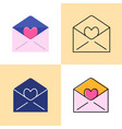 Mail with heart icon set in flat and line styles