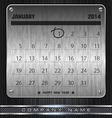 Metal January Calendar 2014 Happy New Year vector image