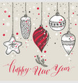 new years toys hand drawn style greeting card vector image vector image