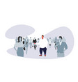 obese fat man standing out from crowd people vector image vector image