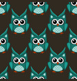 owl stylized art seemless pattern green colors vector image