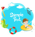 paper template with boy in the pool vector image vector image