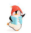 penguin reading book about winter snowman for kids vector image