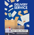 post mail delivery parcels and letters shipping vector image vector image