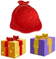 Red bag with gifts and the box with ribbon vector image vector image