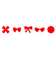 red ribbon christmas bow icon set line decoration vector image