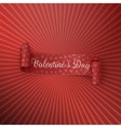 Red textile scroll Ribbon with Valentines Day Text vector image vector image