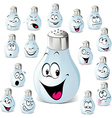 salt shaker cartoon with many expressions vector image vector image