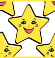 seamless object yellow star with a face vector image vector image
