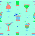 seamless pattern with alcohol cocktails flat vector image