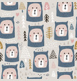 seamless pattern with cute bear faces in knitted vector image