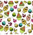 seamless texture with cute Cake vector image vector image
