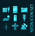 set energy generating systems neon icons vector image
