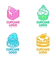 Set of cupcake logos for bakery coffee shop cake vector image vector image
