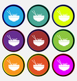 Spaghetti icon sign Nine multi colored round vector image vector image