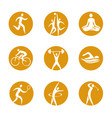 sport icons on round background vector image vector image