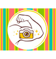 strong man hand with photo camera icon on vector image vector image