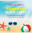 summer beach party invitation poster with element vector image