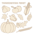 template with hand drawn Thanksgiving elements vector image vector image