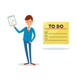 to do list man showing clipboard page with chart vector image vector image