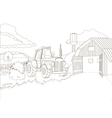 Tractor on the farm coloring book vector image vector image