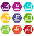 translate button icon set color hexahedron vector image vector image