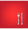 Two red restaurant icons with fork and knife vector image vector image