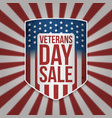 veterans day sale big patriotic shield vector image