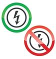 Voltage permission signs vector image vector image