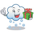 with gift snow cloud character cartoon vector image