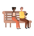 young couple with smartphone in wooden chair vector image vector image