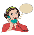 Popart comic retro woman talking by phone vector image