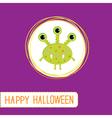 Cute cartoon green monster Violet background vector image