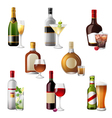 alcohol bottles and cocktails vector image