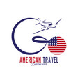 american travel logo with plane and american flag vector image vector image