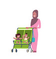 arab mother baby sister brother twins double vector image