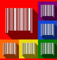 bar code sign set of icons with flat vector image