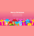 big pile colorful wrapped gift boxes for merry vector image
