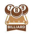 billiard club logo emblem silhouette isolated on vector image vector image