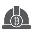 bitcoin miner hat glyph icon finance and money vector image vector image