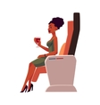 Black African lady woman drinking wine in vector image vector image