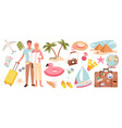 cartoon travelling woman man characters on holiday vector image vector image