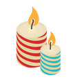 christmas candle icon isometric 3d style vector image vector image