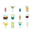 cocktails flat icon alcoholic summer party drinks vector image vector image